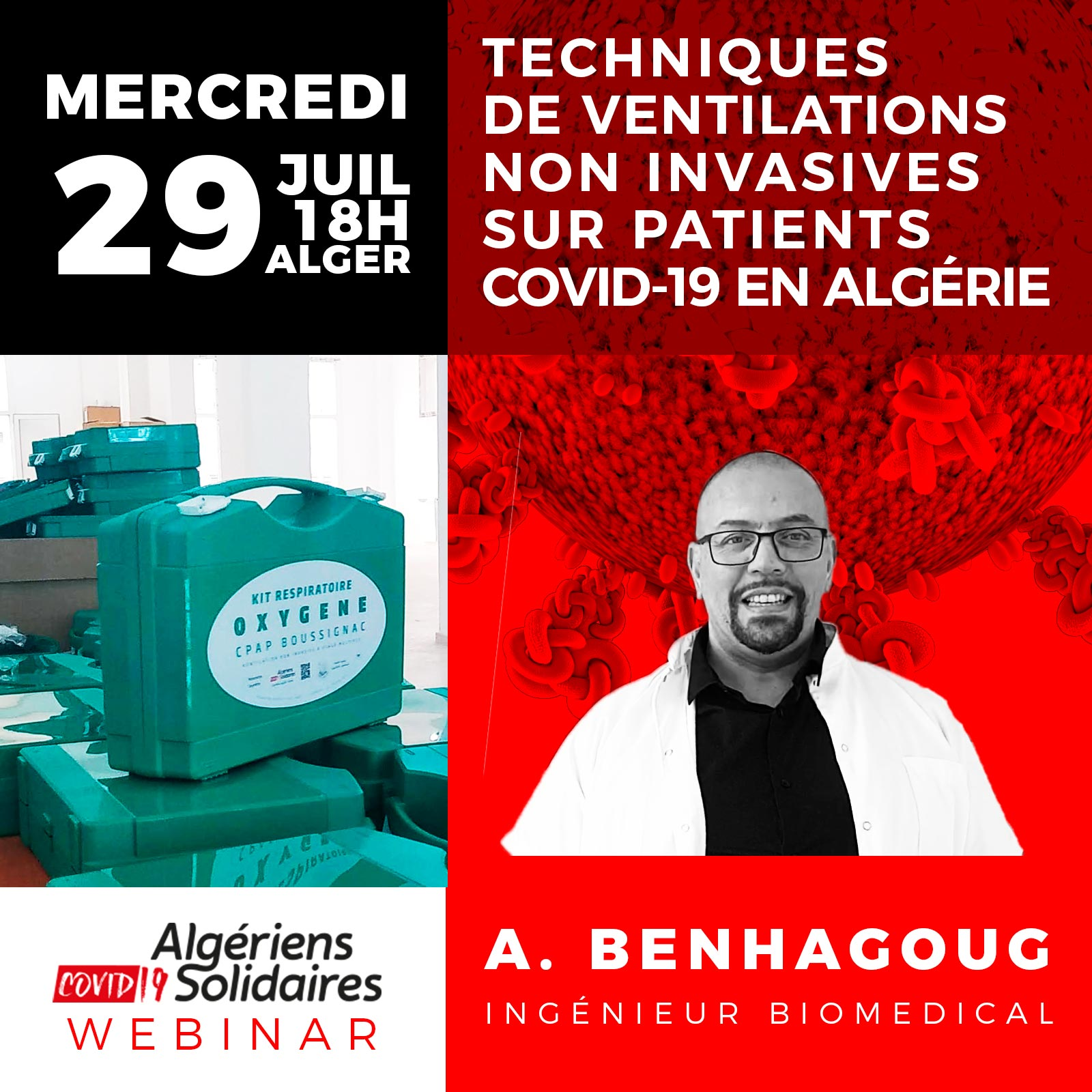 Webinair : Pourquoi la CPAP de Boussignac comme technique de ventilation non invasive sur patients Covid-19 en Algérie ?
