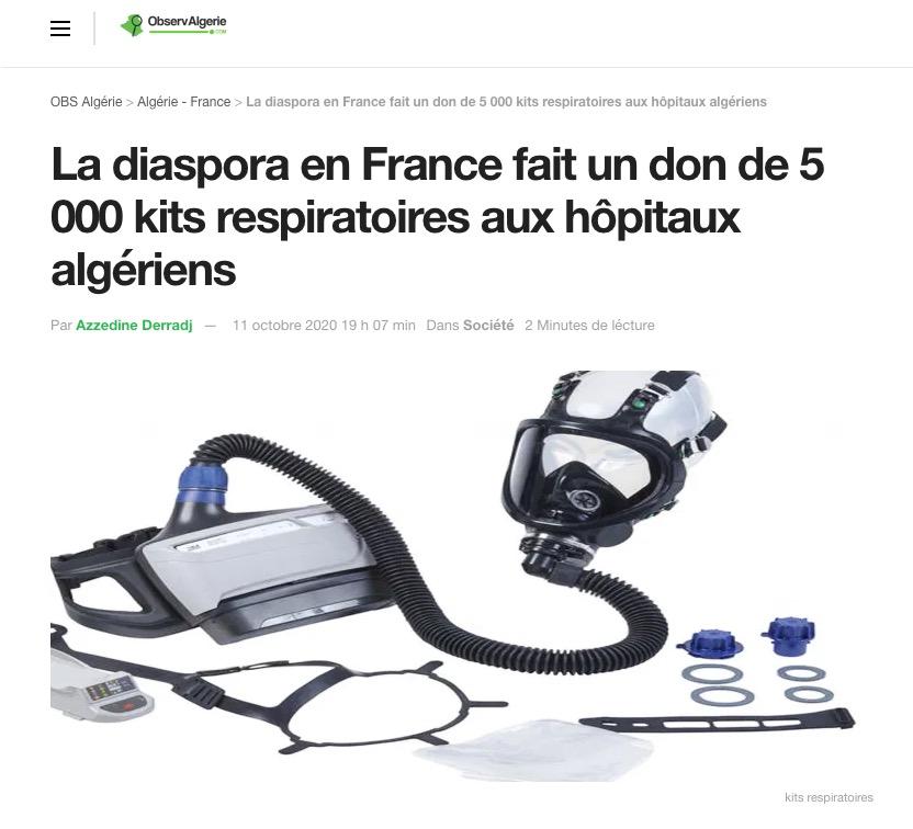 Observalgerie.com La diaspora en France fait un don de 5 000 kits respiratoires aux hôpitaux algériens